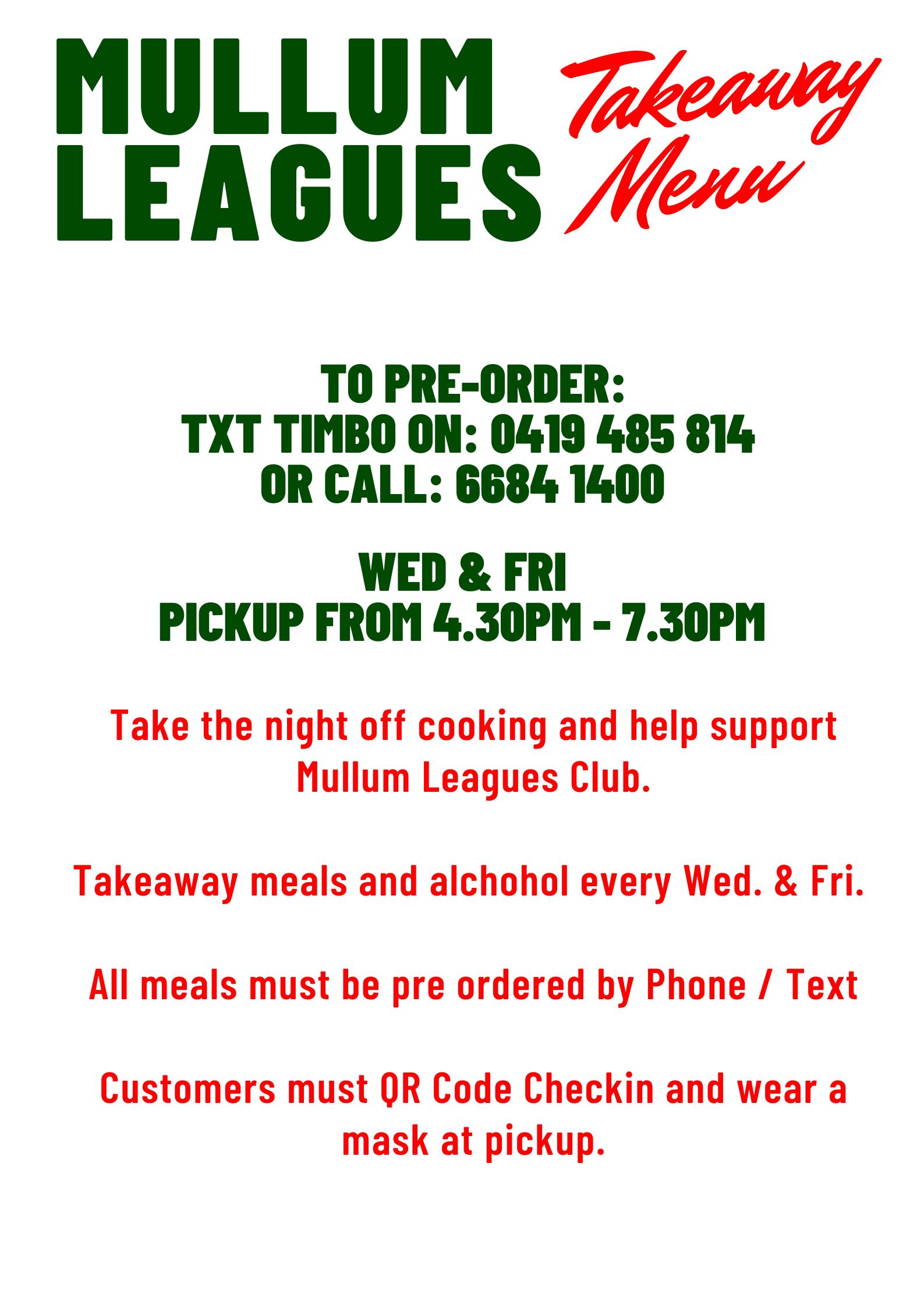 Wednesday Pasta Night Mullumbimby Takeaway Meals Menu, Leagues Club
