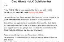 Club Giants – MLC Gold Member Event